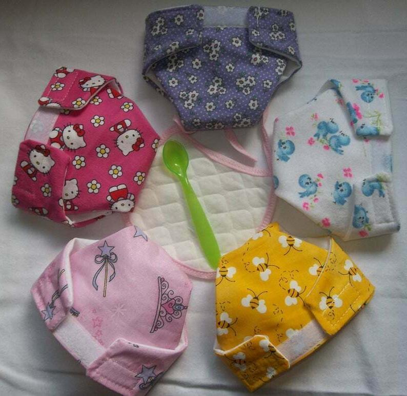 5 large cloth doll diapers bee bird