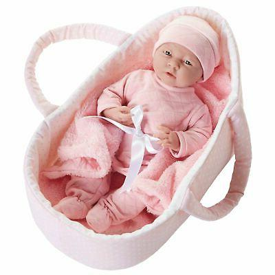 JC Toys Deluxe Realistic Baby Doll With Fabric Basket & Gift