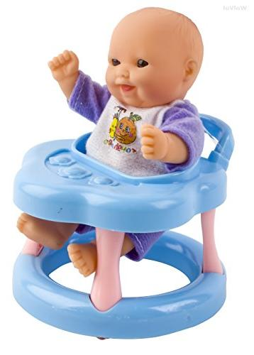 WolVol Mini Dolls Girls with Cradle, High Chair, Walker, Swing, Bathtub, seat