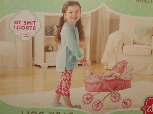 "Baby Doll Pram w/ Folding Canopy Cover to 18""."