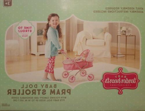 baby doll pram stroller w folding canopy