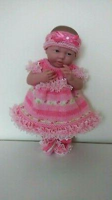 "AMERICAN GIRL BITTY BABY HAND KNITTED CUTE OUTFIT 15"" DOLLS"