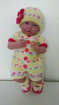 "AMERICAN GIRL BITTY BABY HAND KNITTED ROMPER OUTFIT 15"" DOLL"