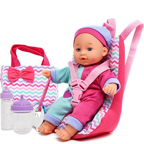Baby Doll with Accessories, 12 Doll, Seat Diaper Toy, Bib Set for Infants Girls