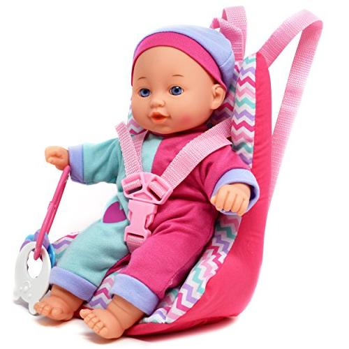 Baby Car with 12 Body Doll, Seat Diaper Toy, Bottles, A Set for Infants Girls