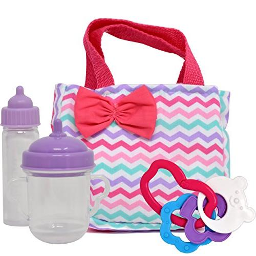 Baby 12 Inch Body Doll, Booster Seat Carrier, Diaper Bag Toy, Bottles, Set for Toddlers Girls
