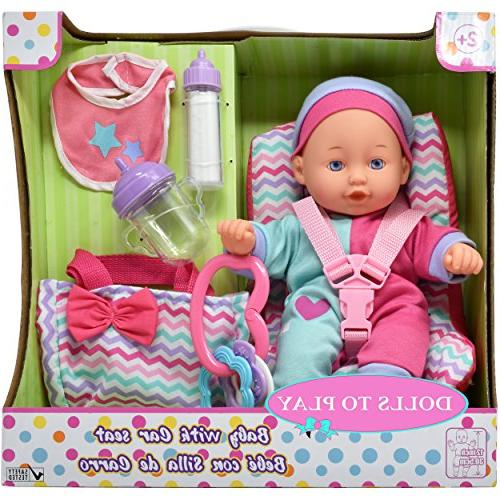 Baby Car Seat with Accessories, 12 Inch Doll, Booster Carrier, Diaper Toy, Bottles, A Set Girls and