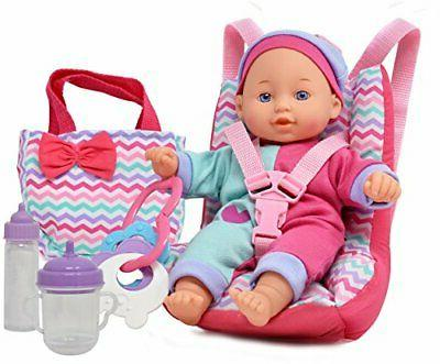 Baby Doll Car Seat With Toy Accessories Includes