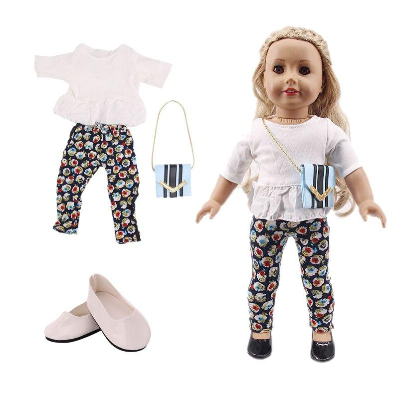 LUCKDOLL Casual Three-Piece Fit American 43cm <font><b>Baby</b></font> <font><b>Doll</b></font> Accessories,Girls Toys,Generation,Christmas