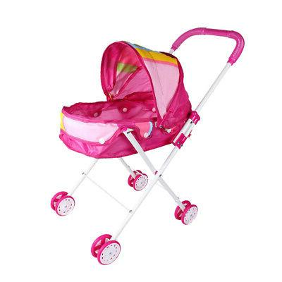 Foldable Baby Doll Stroller Trolley with Basket, Hood Pink f