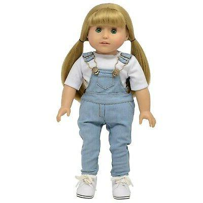 The York Collection Denim Overalls 18 inch Dolls