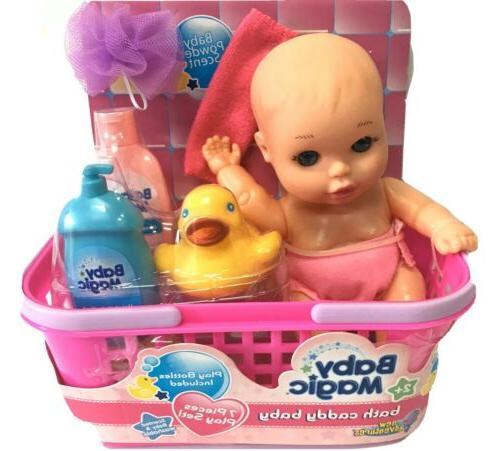 Baby Magic Doll & Bath Caddy Baby 7 Piece Play Set
