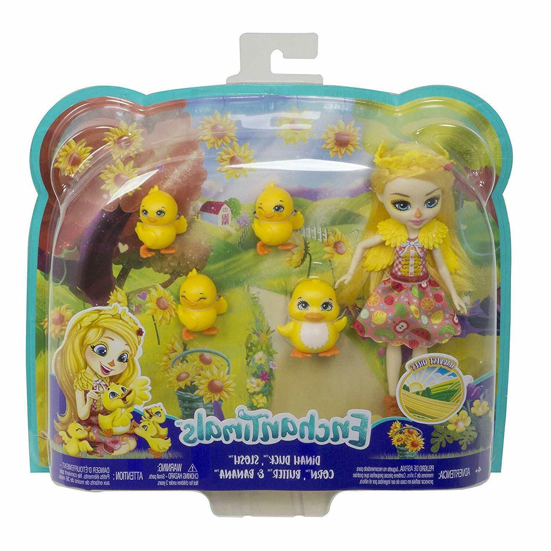 Enchantimals Family Toy Set, Dinah Duck Doll  w/ Slosh & 4 B
