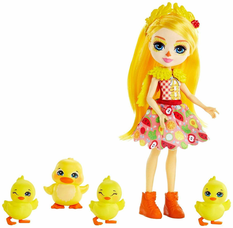 "Enchantimals Dinah Duck Doll 6"" with Slosh & 4 Baby Duckling"