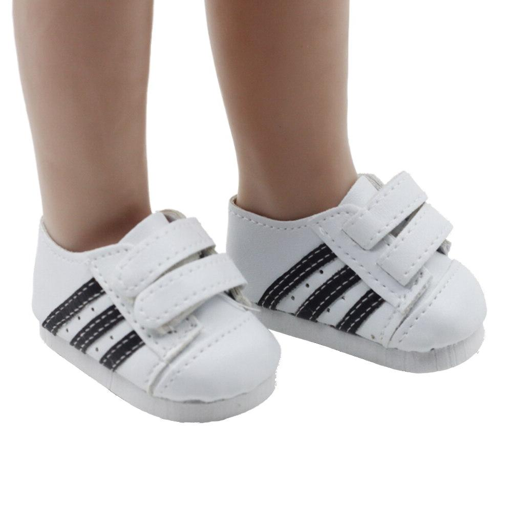 Fashionable white sneakers shoes for fits cm and 18inch American'