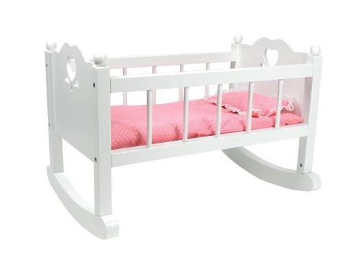 hand painted white doll cradle