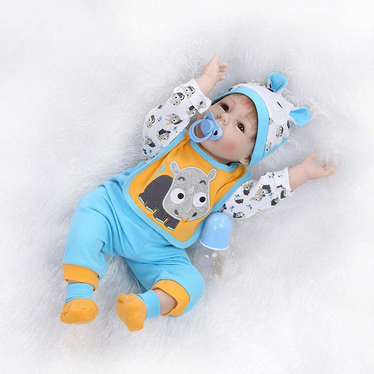 "Real Life Reborn Baby Dolls 22"" Newborn Boy Realistic Soft S"