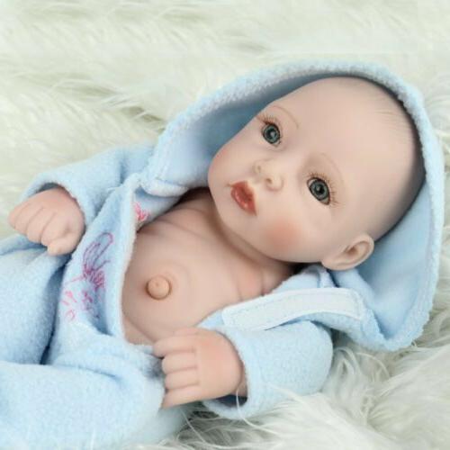 "10"" Body Vinyl Silicone Reborn Newborn Girl+Boy Twins Gifts Toy"