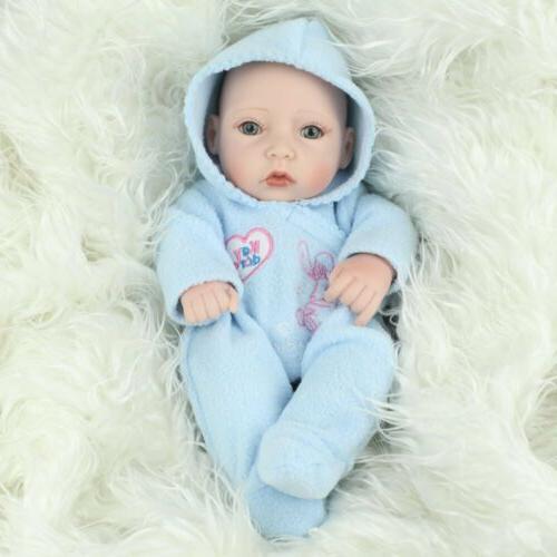 """10"""" Full Silicone Reborn Dolls Newborn Girl+Boy Toy"""
