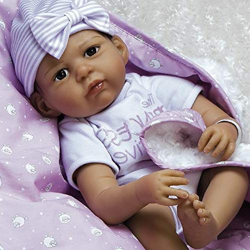 Paradise Galleries Girl Doll Silicone Baby Bundles: Princess Arrived, 7-Piece Ensemble