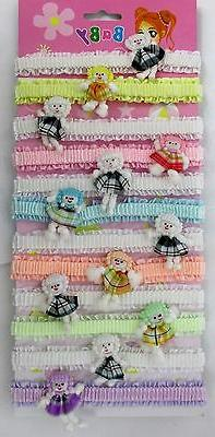 "LOT OF 12,24--""DOLL DESIGN"" LACE BABY HAIRBAND,ELASTIC  TODD"