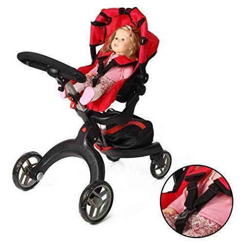 "Mommy Me Doll Stroller Swiveling Wheels 31"" Included"