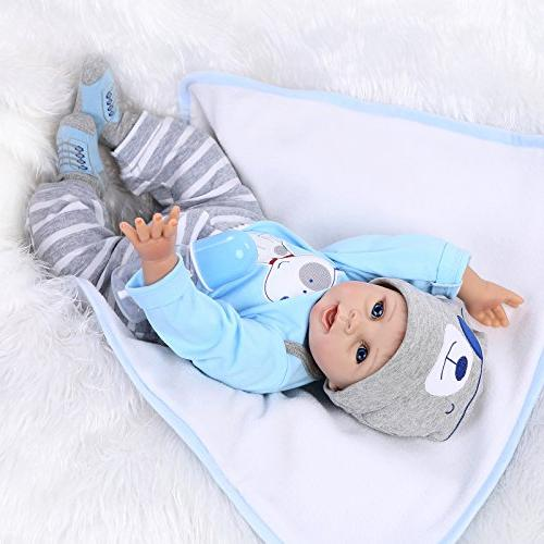 NPKDOLLS Doll Soft Baby Boy 22inch Mouth Cute boy Doll for Ages