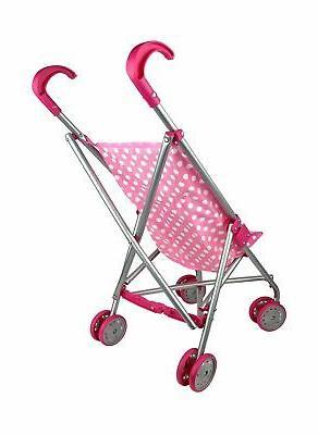Precious Pink & White Polka Doll with swivel wheels