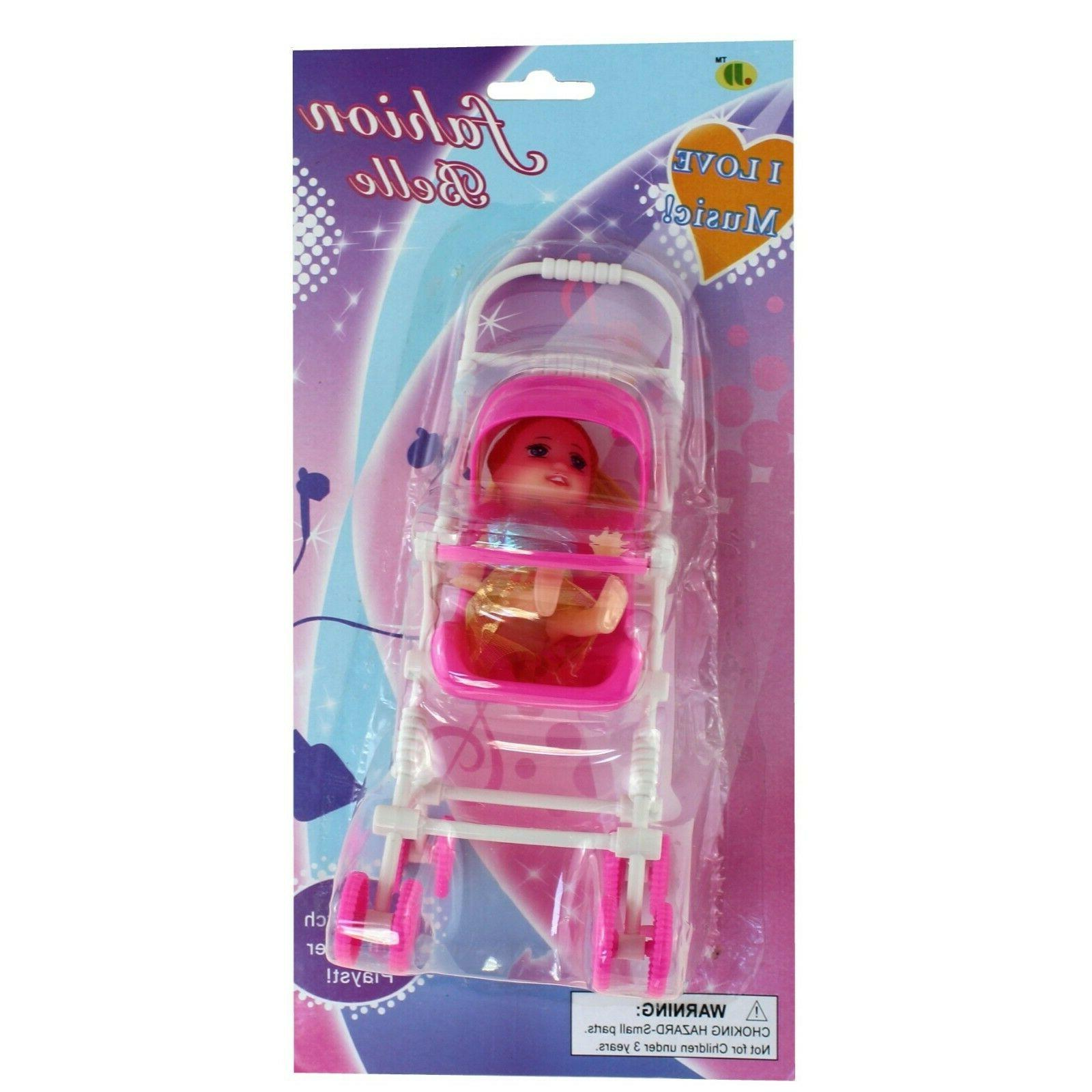 Pink Pushchair Stroller Toy Buggy Baby Gift