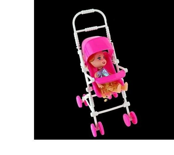 Pink Pushchair Stroller Toy Doll Buggy Baby Gift