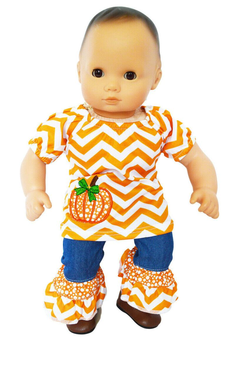 pumpkin denim outfit for bitty baby bitty