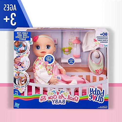 Baby Alive Can Blonde Lifelike Expressions, Movements & Real Doll Accessories, Girls and Up