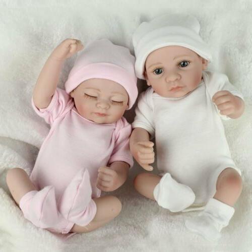 "10"" Twins Baby Dolls Lifelike Newborn Doll Full Body Vinyl S"