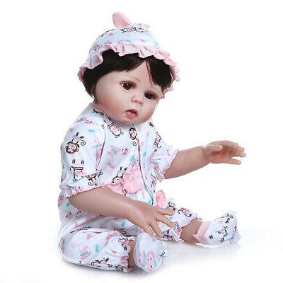 "Realistic Reborn Baby Dolls Full Vinyl Silicone Girl Doll Newborn 18"""