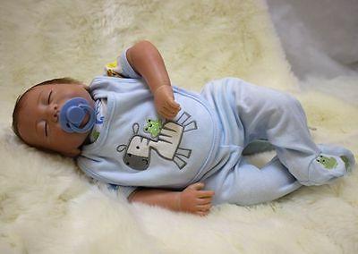 Reborn Baby Boy Doll 18'' Lifelike Vinyl Kid Handmade