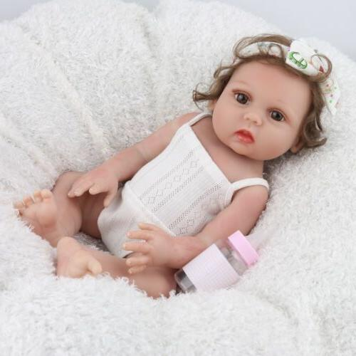 "Full Body Silicone Vinyl 18"" Reborn Baby Doll Handmade Newbo"