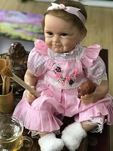 NPK Reborn Girl Vinyl Weighted Realistic Pink Cute Doll Set for Ages