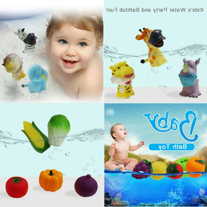 rubber animals vegetables water toy baby bathroom