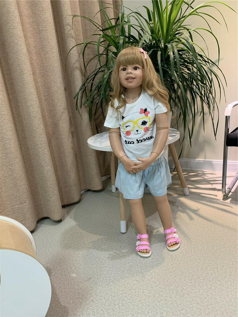 "Standing Lifelike Toddler Dolls 39"" Masterpiece Dols Blonde"