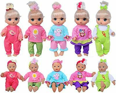 Total 10-Sets Doll Clothes Outfits Accessories 10-inch Baby