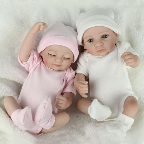 10/'/' Twins Reborn Baby Dolls Full Silicone Vinyl Newborn Preemie Boy Girl Doll