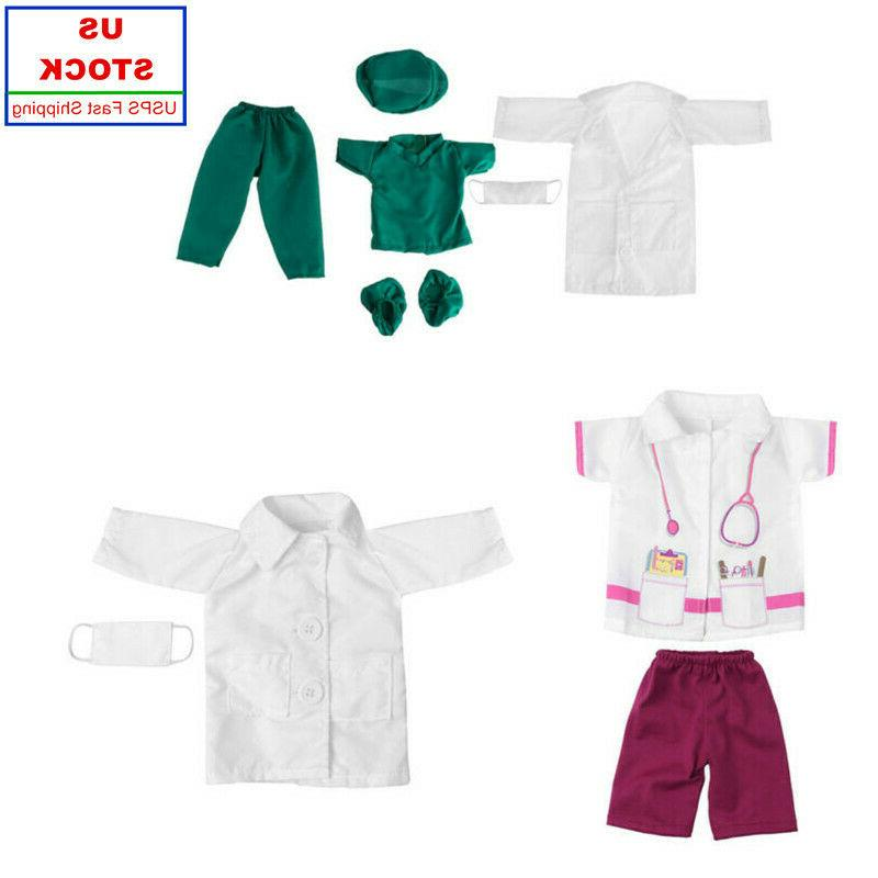 US Baby Doll Doctor Nurse Clothes Outfit Set Fits 18 Inches