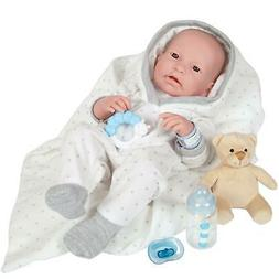 JC Toys, La Newborn All-Vinyl Real Boy 17in Baby Doll-Grey S
