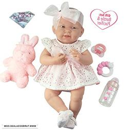 "JC Toys La Newborn Baby Play Dolls, White, Pink, 15"""