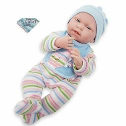 JC Toys La Newborn Real Boy Baby Doll, Stripes
