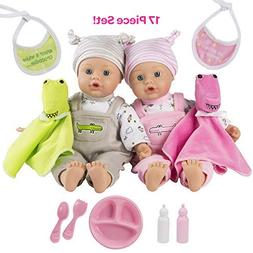 Adora Baby Later Alligator Twins Gift Set 11 inch Soft Dolls