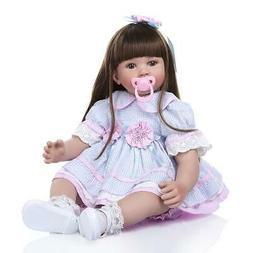 "Lifelike 24"" Adorable Reborn Toddler Baby Dolls Soft Silicon"