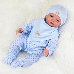 """Lifelike Baby Boy 22"""" Reborn Dolls Handmade Vinyl Silicone N"""