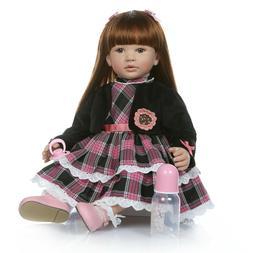Lifelike Baby Dolls Long Hair Toddler Size Reborn Baby Girls