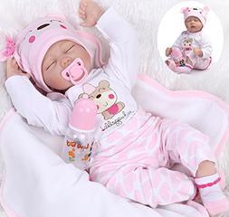 "Lifelike Reborn Baby Doll Girl 22"" Realistic Soft Vinyl Sili"